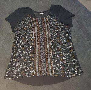 Maurice's black blouse with lace accent back.